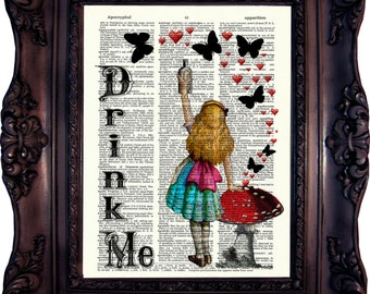 Alice in Wonderland Decor Alice in Wonderland Decoration Alice in Wonderland Quote Drink Me Mad Hatter Alice Print on book page. Code:021