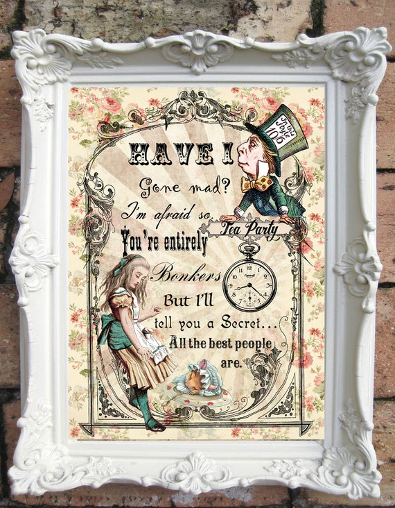 ALICE In WONDERLAND Wall Art Alice Wonderland Quote Print