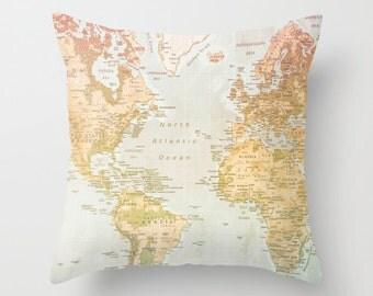 World Map Pillow, Pastel Pillow, Map, World artwork, Pastel Color, Pastel Art, World, World Art, World Pillow, Home Decor