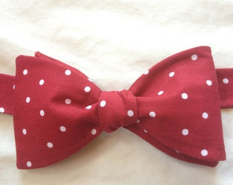 Red polka dot bow tie