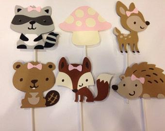 12 Girl Woodland Animal Cupcake Toppers