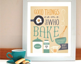 Those Who Bake Typography Art Print - Customize Name and Colors - Housewarming Gift for Friend Family or Hostess who Loves to Bake
