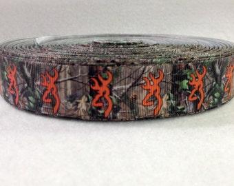 7/8 Camo and Orange Browning Grosgrain Ribbon