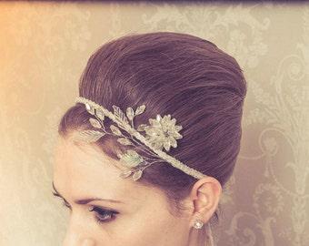 Bridal - hair accessory - flower -iridescent