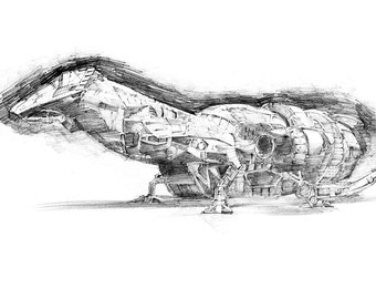Firefly Serenity Spaceship Drawing Print