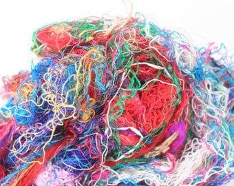 Rainbow Silk Fibers for spinning , felting, and fiber art!
