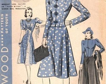 Hollywood 1949 Fashionista Favorite Dress & Jacket / ca. 1939 / SZ12 COMPLETE