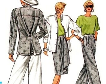 Vogue 9636 Offbeat Jacket, Skirt, Pants & Top 1986 / SZ8-12 UNCUT
