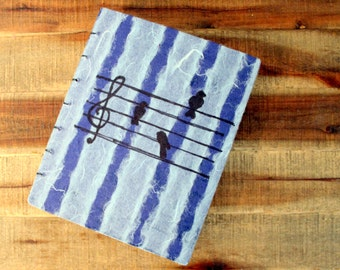 Handmade Journal or Sketchbook--Blue stripes with birds and sheet music. Bound by hand with Coptic Stitch.