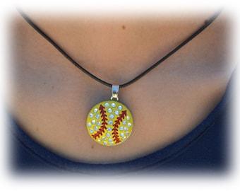 Softball Gift, Softball Team Gift - Girls Jewelry - Large Pendant Softball Necklace - Softball Mom - Softball Coaches Gift - Softball Player
