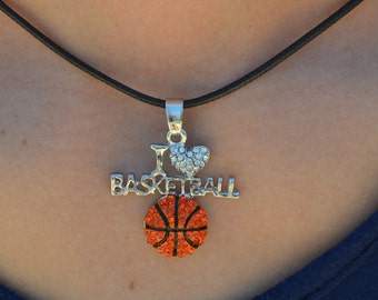 "Basketball Necklace for Basketball Team Gift, Basketball Jewelry, I ""Heart"" Basketball Necklace, Basketball Girls Necklace, Basketball Gifts"