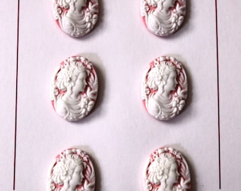 Pink Cameo buttons, set of 6, 18x25mm