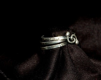 Wire wrapped, hand stamped ribbon ring