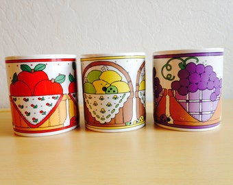 Vintage S. McChesney Red Apples, Lemons and Grapes Mugs