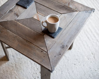 Reclaimed Wood Square Coffee or Lamp Table. Hand Made Rustic  Square Pattern Design