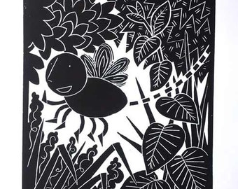The bee is me.  ~ Original Linocut print.