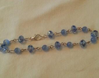 "SALE!! 20% OFF!! 8"" Blue and Silver Bracelet"
