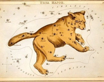Ursa Major constellation card from 1824 facsimile