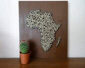 "Africa Map made of cord and wood| 10.6""x12.6"" - 27x32cm 