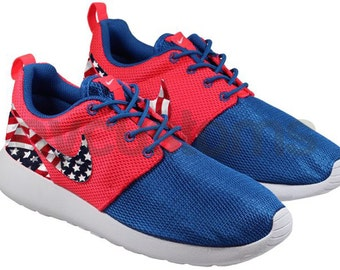 Nike Roshe Run Blue Crimson Red American Flag Custom Kids
