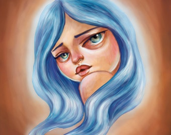 Little Blue Haired Scamp Art Print 8 x 11 Pretty Big eyed Girl Pop Surrealism
