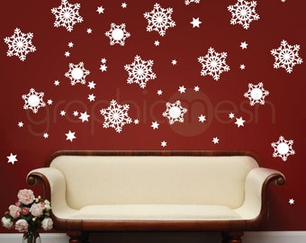 Playful Snowflakes CHRISTMAS WALL DECALS - Holiday interior decor by GraphicsMesh