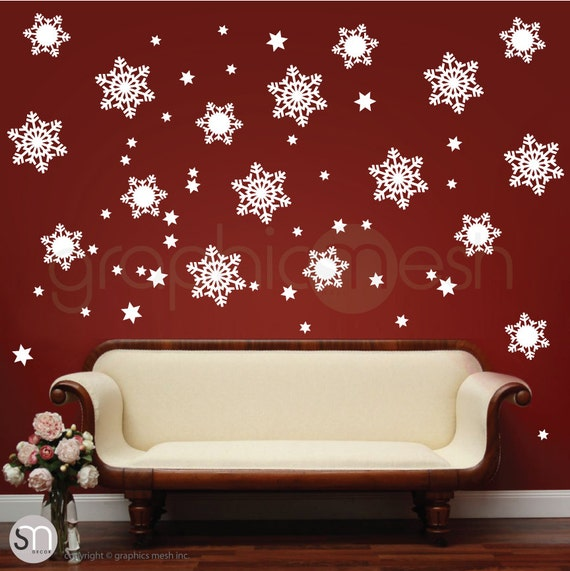 playful snowflakes christmas wall decals holiday interior. Black Bedroom Furniture Sets. Home Design Ideas