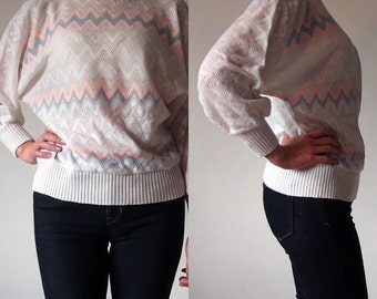 Vintage 1980s Jumper Batwing Pastel Pink Blue Retro Indie Summer Party 8/10/12
