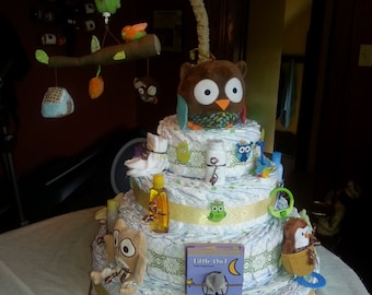 4 Tier Solid Diaper Cake