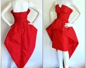 Vintage Victor Costa Dress Red Avant Garde Dress / Origami Bustle Christmas Holiday Dress / Fishtail Train Hem / Sexy She Devil Dress