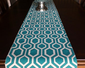 Geometric table runner, Turquoise Table Runner, Blue Table Runner, House Warming Gift, Wedding Gift,