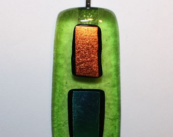 ON SALE - Handmade Pendant - Fused Glass Jewelry - Glass Necklace - Dichroic Glass - Multicolored