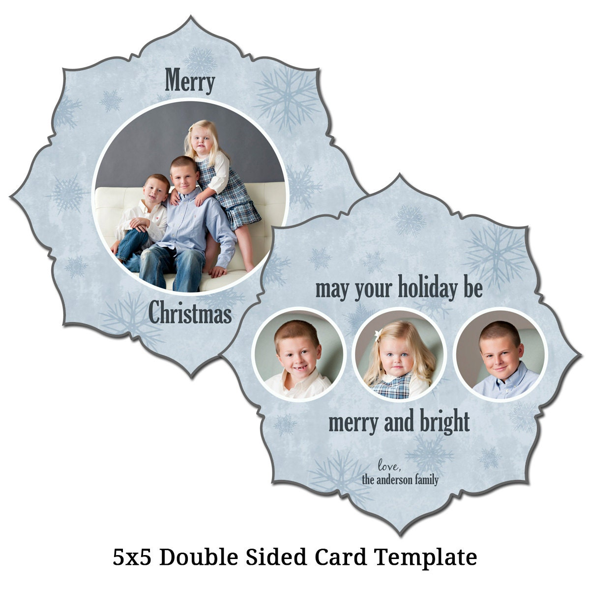 5x5 double sided christmas card template holiday card. Black Bedroom Furniture Sets. Home Design Ideas