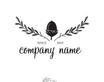 Black and White Vintage Logo Template - Premade logo - Acorn Logo design - Vintage Premade logo in handmade - Custom predesigned