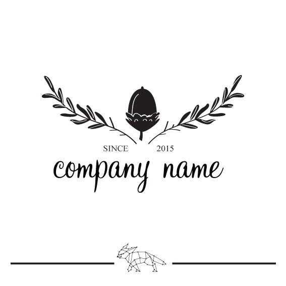 Black and white vintage logo template premade logo acorn for Hotel name design