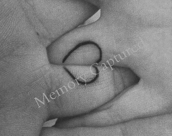 Heart Tattoo Love Photo Holding Hands Black & White Digital Download Valentine Nursery, Bedroom, Family wall decor