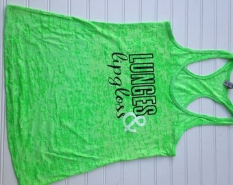 CLEARANCE SALE Women's Fitness Tank Top. Workout Tank. Fun Gym Tank Top. Lunges and Lipgloss