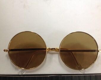 True Vintage MOD Hippie Sunglasses Gold Metal Frame Brown Glass Lenses Japan NOS Lennon 7850