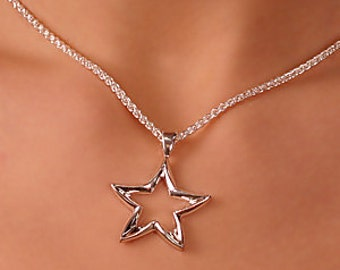 Huge star pendant, solid 925 sterling silver pendant