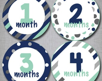 Baby Monthly Stickers Milestone Monthly Stickers Boy Stickers Month by Month [B010]