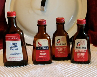 Old Brown Extract Bottles, Vintage Schilling McCormick 1970's Flavoring Bottles, Collectible Bottles, laslovelies