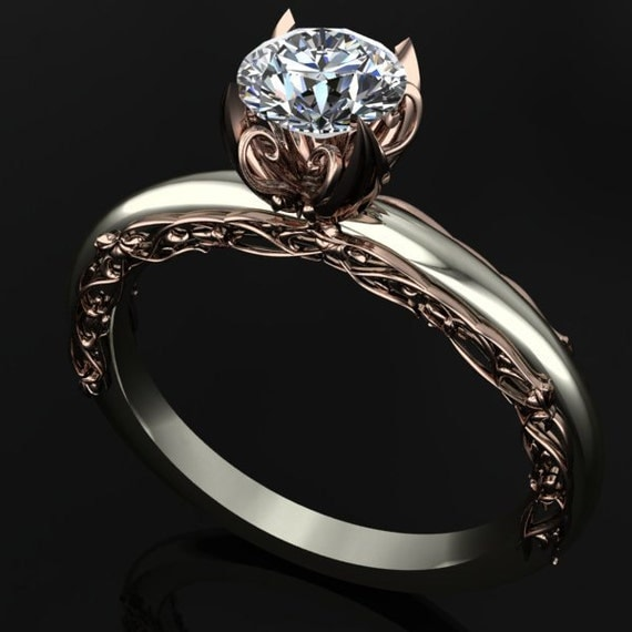 Two Tone Engagement Ring with Elegant Rose Gold by dtekdesigns