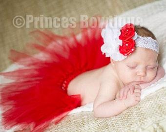 Red Baby Tutu Set, Newborn Red Tutus, Holiday Infant Tutu, Red Girl Tutu and Headband