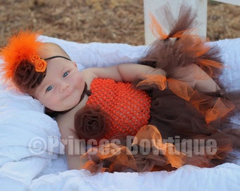 Fall Thanksgiveing Orange Brown Autumn Baby Tutu and  Baby Headband First Birthday outfit Tulle Infat Toddler little girl dress