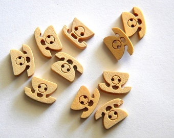 10 Wooden Telephone Buttons