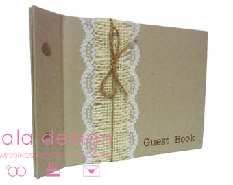 """Guest Book A5 """"Vintage Rustic Lace"""" for Weddings, Engagements, Birthday"""