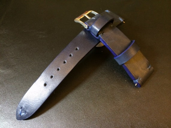 Handmade Genuine Leather strap for Rolex , IWC - Blue Leather watch band with 18mm/19mm/20mm lug width (Perfect for Blue Dial Watches)