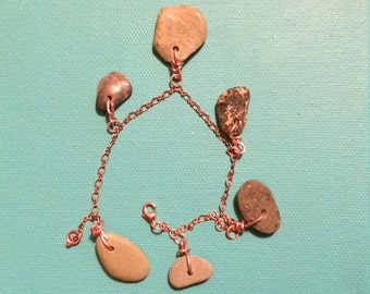 Semiprecious stone bracelet  all copper chain