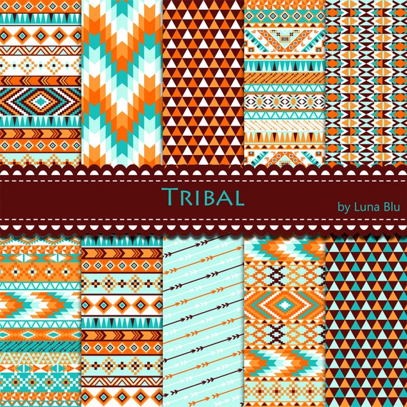 tribal digital paper  tribal patterns brown by lunabludesign
