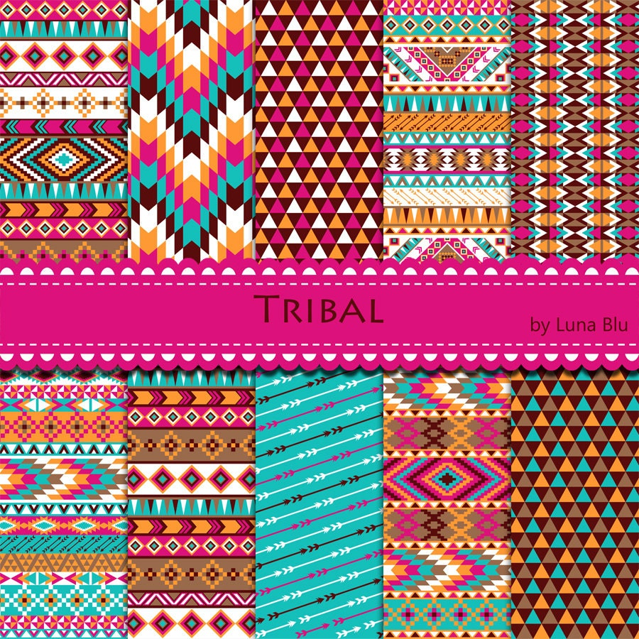 "New Item added to my shop:Tribal Digital Paper: ""Colorful ..."